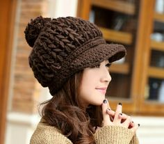 2013 Fashion Female Winter Knitted Peaked Hat Hand Made Beanie Winter Knitting Wool Visors Cap For Women HTZZM-061