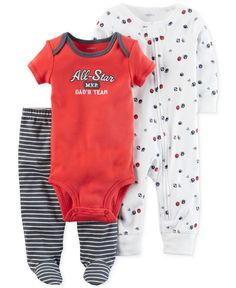 Carter's 3-Pc. Cotton All-Star Bodysuit, Coverall & Footed Pants Set, Baby Boys (0-24 months)