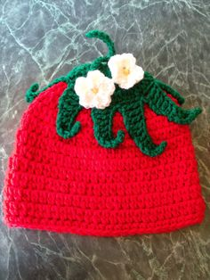 Check out this item in my Etsy shop https://www.etsy.com/listing/156714623/strawberry-hat-made-to-order #HEPTEAM