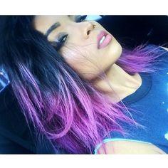 Medium Length Black/Purple Ombre