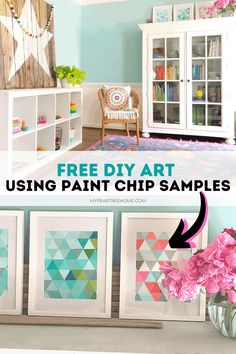 free DIY art using paint chip samples Diy Wall Art, Diy Wall Decor, Diy Home Decor, Paint Chip Wall, Paint Chips, Art Over Bed, Diy Art Projects, Project Ideas, Furniture Projects