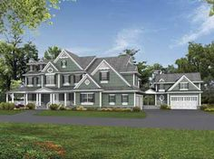 Grand Country Estate Homes with Private Studio (HWBDO64117) | Country House Plan from BuilderHousePlans.com