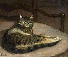 laclefdescoeurs: Chat sur un fauteuil, Théophile Alexandre Steinlen