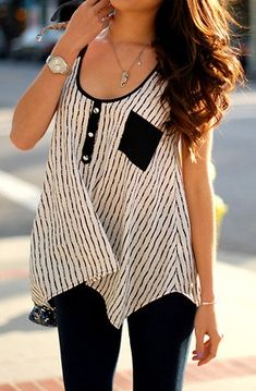 Striped Henley Tank.