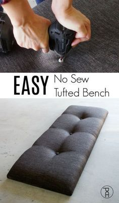 How to make a tufted headboard, bench, or other furniture using a super simple no sew hack! Quick and easy video tutorial. #diyprojects #diyideas #diyinspiration #diycrafts #diytutorial #diy