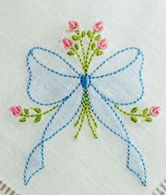 Crewel Embroidery Ideas Shadow Embroidered Bow with Rosebud Spray - KLD Embroidery Designs - Hungarian Embroidery, Hardanger Embroidery, Paper Embroidery, Brazilian Embroidery, Learn Embroidery, Japanese Embroidery, Hand Embroidery Stitches, Silk Ribbon Embroidery, Hand Embroidery Designs