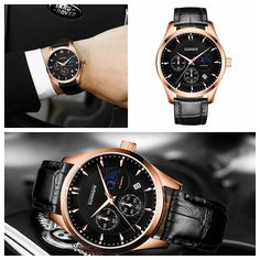 Luxury GUANQIN Brand Men Fashion Watch Leather Wrist 3ATM Waterproof Male Quartz Watch GQ80069 at Banggood
