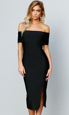 On A Mission Black Short Sleeve Off The Shoulder Foldover Bodycon Bandage Side Slit Midi Dress