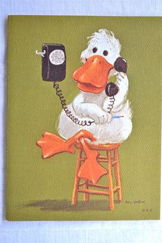 Vintage Greeting Card Suzy's Zoo Telephone by Pumpkintruckpaper