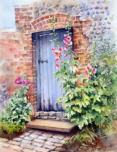 Watercolour 35×25cm.  W and N artists watercolours on Saunders Waterford 140not.  I love the combination of doors and hollyhocks and so this one was a gift to paint. • Buy this artwork on stationery.