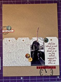 Note: using tags to journal on, simple embellishments, striped string.
