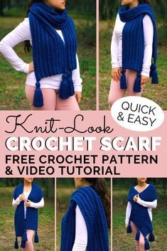 This thick, squishy scarf may look knitted, but it's actually crocheted! It's a beginner-friendly project that is quick and easy to make. Grab your hook and let's get started! Crochet Wrap Pattern, Easy Crochet Patterns, Knitting Patterns, Scarf Patterns, Knitting Tutorials, Free Knitting, Crochet Ideas, Crochet Projects, Stitch Patterns