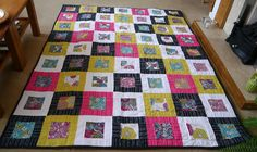 """@Kim McBirnie from Learning to Quilt made her Valentina using bold colors and a beautiful mixture of straight line quilting and floral fmq. """"I used Aurifil 50wt 2021 -fine enough that the front fabrics are not obscured by the quilting, but good enough to hold the pattern without snapping.""""    To view more visit http://brigantiadesigns.blogspot.com/2013/01/on-roll-january-finishes.html"""