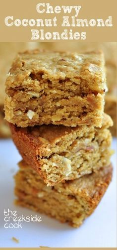 Fast, easy and rich - Chewy Coconut Almond Blondies   The Creekside Cook  #bars #cookies #almonds