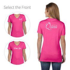 Delta Zeta T-shirt with Selfie Queen on the back and Greek Letters on the front.#deltazeta #dz http://manddsororitygifts.com/delta-zeta-v-neck-t-shirts/