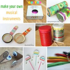 Make your own musical instruments - - Your kids can make their own musical instruments at home with simple materials, including: recycled materials: cardboard boxes and tubes, bottle tops and lids, shampoo bottles, tin cans and empty r…. Music Crafts, Craft Stick Crafts, Make Your Own, Make It Yourself, How To Make, Drums For Kids, Instrument Craft, Homemade Musical Instruments, Easy Diys For Kids