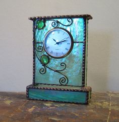 Unique Stained Glass Mantle / Shelf Clock, Green W/ Purple And Gold Iridescence