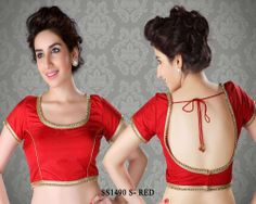 Saree Blouse  Red Cotton Silk