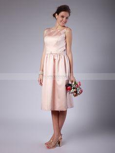 Gerry - Classique robe demoiselle d'honneur en satin avec zip dans le dos