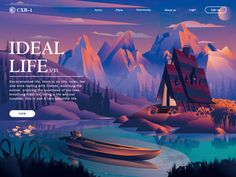 IDEAL LIFE-Web page illustration designed by CXB-i for RED. Connect with them on Dribbble; Website Design Layout, Layout Design, Landscape Illustration, Graphic Design Illustration, Beautiful Stories, Life Is Beautiful, Small Yachts, Affinity Designer, Landing Page Design