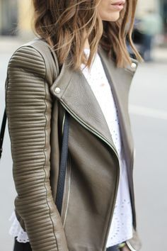 taupe leather moto jacket. Militar green leather moto jacket. I love it and I need it. forget about the black leather jacket.