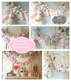 Burlap and Pink Girls Baby Shower Decoration. by QuiltedCupcake