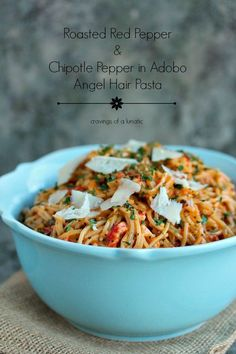 Roasted Red Pepper and Chipotle Pepper in Adobo Angel Hair Pasta @FoodBlogs