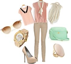 """""""Beige Jeans"""" by karlamckay on Polyvore"""