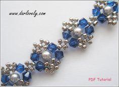 Swarovski Blue Silver Pearl Metal Bracelet PDF by darlovely Beaded Bracelet Patterns, Embroidery Bracelets, Jewelry Patterns, Beaded Jewelry, Beaded Necklace, Metal Bracelets, Beaded Bracelets, Bracelet Making, Jewelry Making