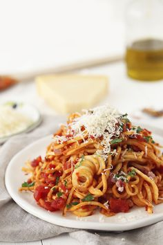Parsnip Spaghetti All'Amatriciana leaving off the cheese will make this Whole30 approved
