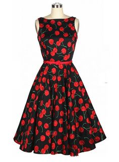 Black Vintage Dress with Cherry Print