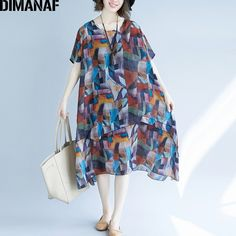5a9616c63e7a DIMANAF Plus Size Women Summer Beach Dress Chiffon Sundress Elegant Lady  Vestidos Loose Casual Fashion Female