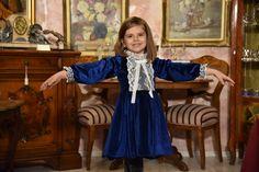 Soft velvet dress, Victorian style girl dress, navy vintage dress