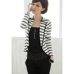 Graceful Black-White Stripe Design Lapel Collar Long Sleeves Women's Blazer, WHITE, ONE SIZE in Blazers   DressLily.com