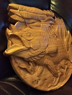 Fish in Reeds carving in Beech wood by WoodWorxCnC on Etsy Fish Wood Carving, Dremel Wood Carving, Art Sculpture En Bois, Tree Sculpture, Wood Carving For Beginners, Hand Carved Walking Sticks, Wood Engraving, Engraving Ideas, Craft Activities For Kids
