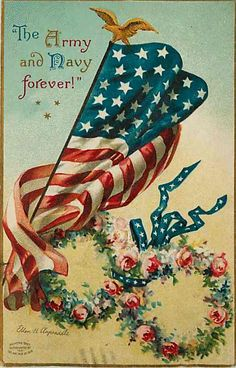 july 4th forever | July 4th Clapsaddle Artist Signed 1909 American Flag Army Navy Forever ...