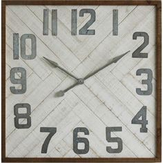 "Square Wood Wall Clock with Metal Numbers - huge 36"" x 36"" clock for $130"