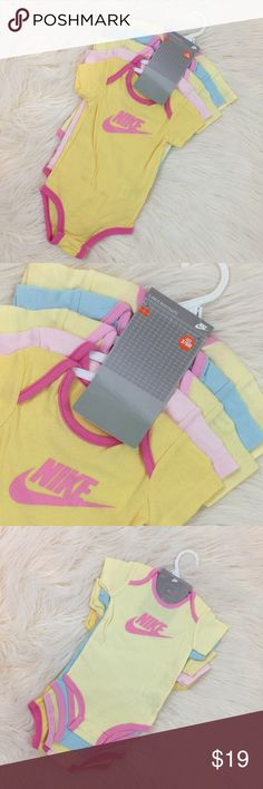 NIKE 5 Pack Pastel Girls Bodysuits Onesies 3/6 MO Five pack of pastel Nike bodysuits/onesies. Size 3 to 6 months. New with tags. Available in more sizes and colors in separate listings. Nike One Pieces Bodysuits