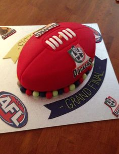 Hawthorn and Fremantle AFL Grand final footy cake.