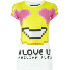 Philipp Plein Love U! T-Shirt ($529) ❤ liked on Polyvore featuring tops, t-shirts, white, short sleeve tee, white cotton tee, white logo t shirts, logo tee and cotton logo t shirts