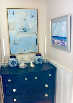 Dining room ~ Dresser found on street and painted black/new knobs