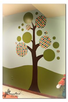 Playroom tree done with paint and also fabric circles stuck to the wall with cornstarch goo.  Could also use fabric starch as the adhesive.