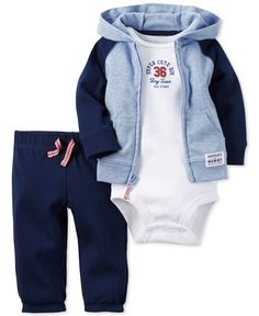 Sporty and cute for playtime (and naptime), this Carter's three-piece set for baby boy features a zip-up hoodie, bodysuit and pull-on pants. | Cotton; jacket: cotton/polyester | Machine washable | Imp
