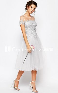 Tea-Length Appliqued Short Sleeve Scoop Neck Tulle Bridesmaid Dress a216364880b9