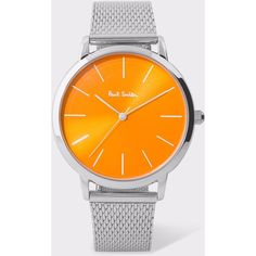 Paul Smith Special Edition 38mm Orange And Stainless Steel 'Ma' Watch ($240) ❤ liked on Polyvore featuring jewelry, watches, silver, dress watches, stainless steel jewelry, dial watches, dress watch and geometric jewelry