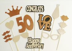 Photo Booth Props 50th Anniversary Party Decorations 15pc set LOTS of glitter! Wedding Anniversary Decorations 50th Wedding Photo Props by PimpYourParty on Etsy https://www.etsy.com/listing/166505251/photo-booth-props-50th-anniversary-party