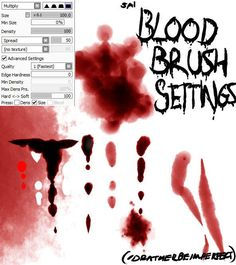 Paint Tool SAI: Blood Brush Settings *UPDATED!* by Idratherbeimperfect.deviantart.com on @DeviantArt