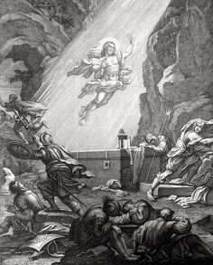 Christ's earthly ministry in the Phillip Medhurst Bible 504 of 550 The Resurrection Matthew 28:2-4 Luyken on Flickr. A print in the Phillip Medhurst Collection at St. George's Court, Kidderminster