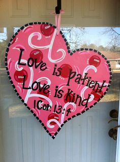 Wooden Valentine heart - LOVE putting Bible verse on door decor!