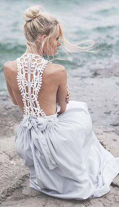 Open Back Crochet Detail Maxi Dress